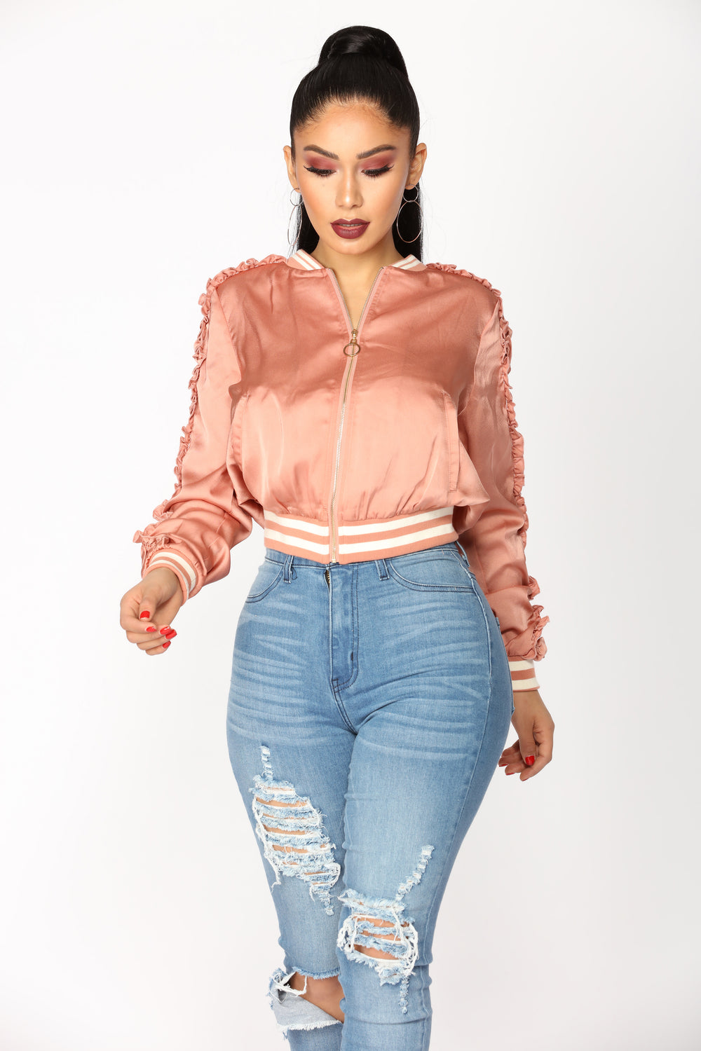 Now And Then Satin Bomber Jacket - Mauve