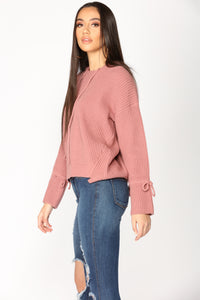 Ava Long Sleeve Sweater - Rose