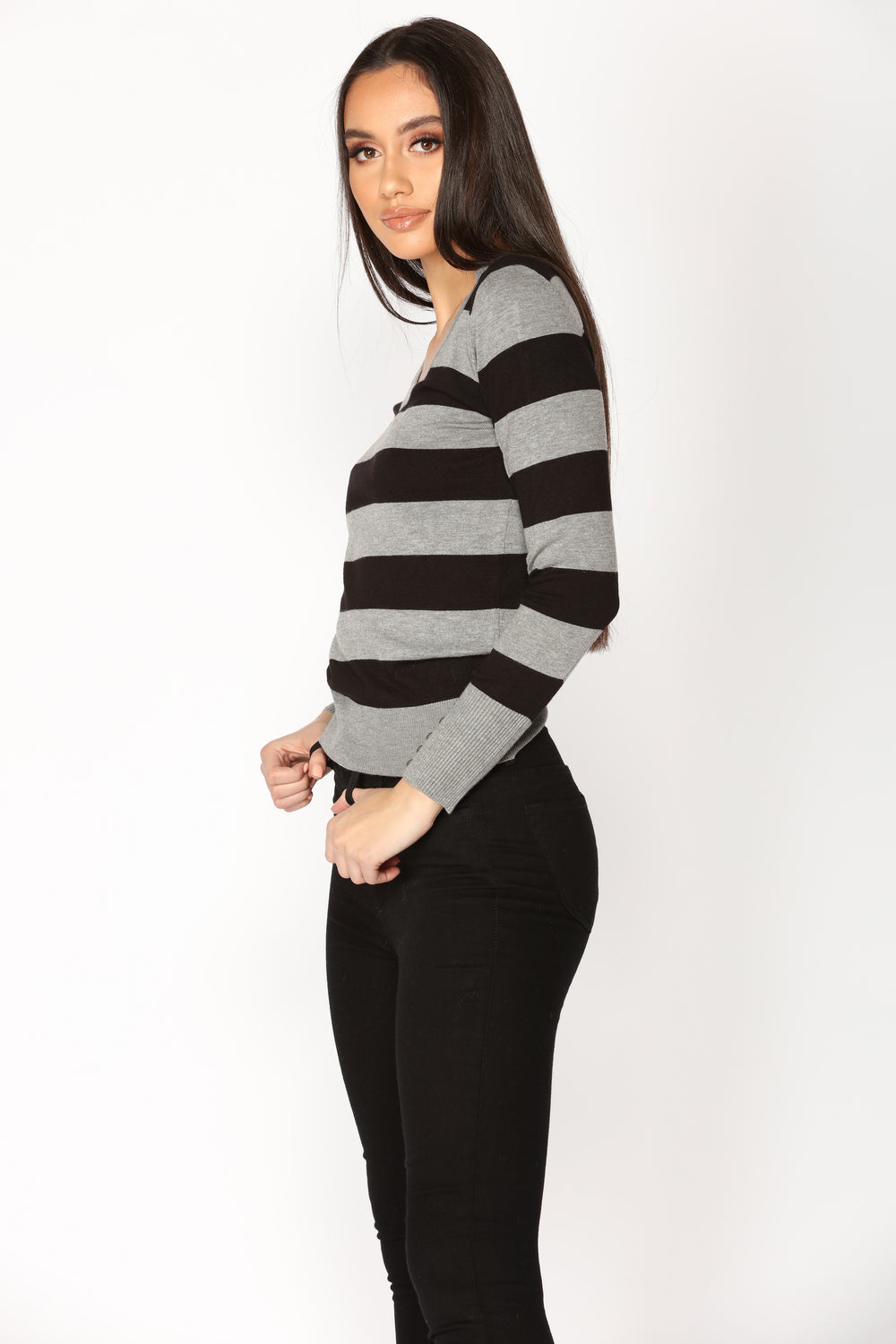 Layla Sweater Top - Grey Combo