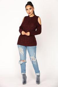 Jackie Cold Shoulder Sweater - Burgundy Combo
