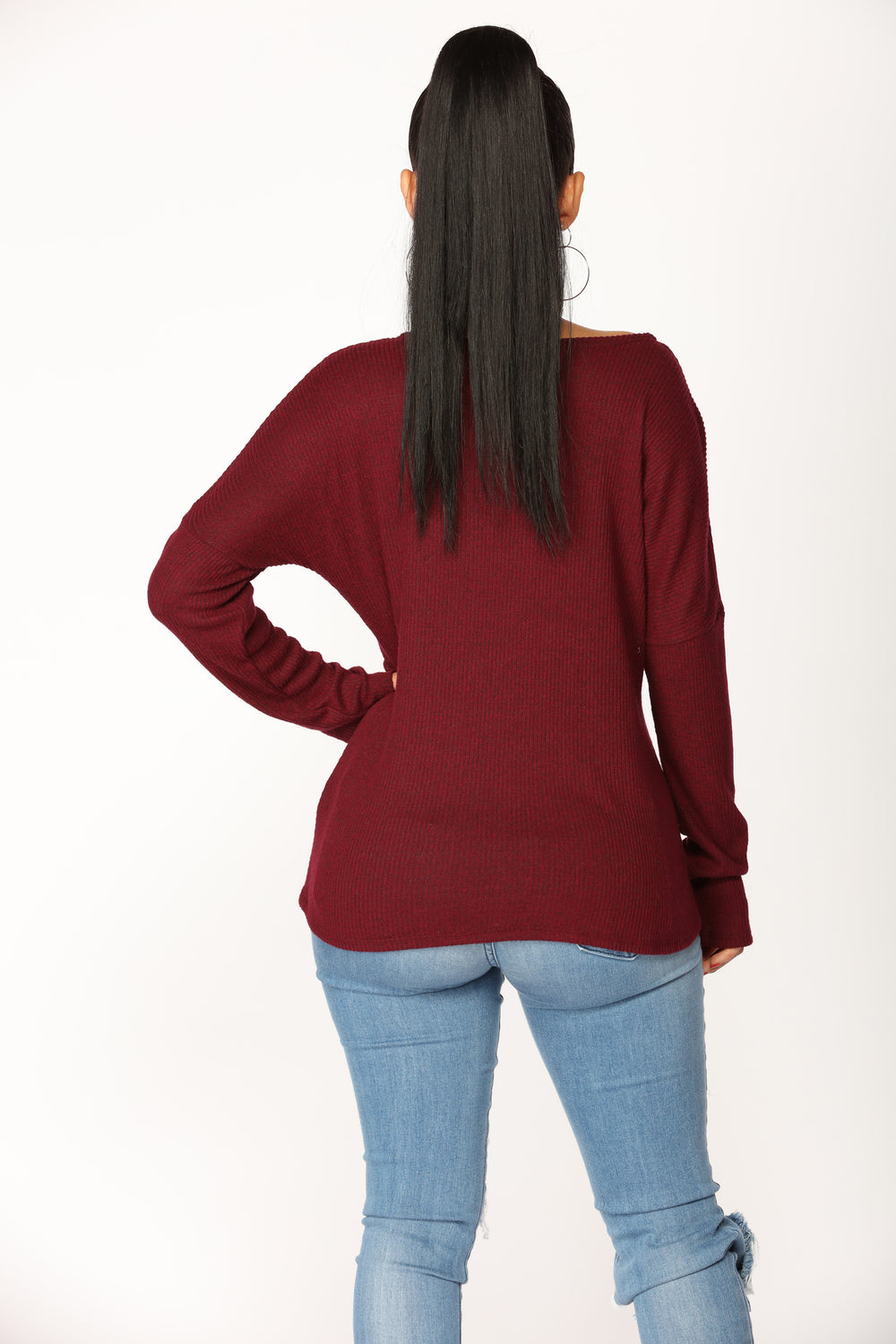Ava Surplice Top -  Burgundy