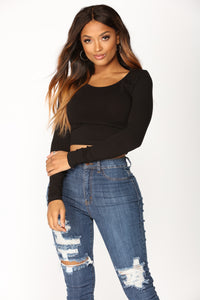 My Boy Scoop Neck Crop Tee - Black