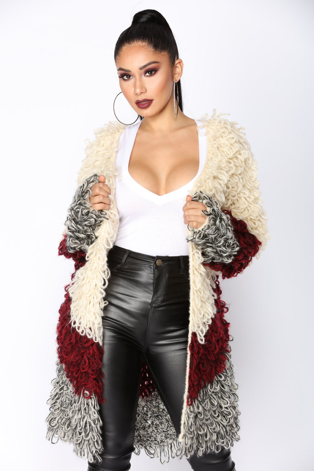 Chrisy Shaggy Sweater Coat - Ivory Multi