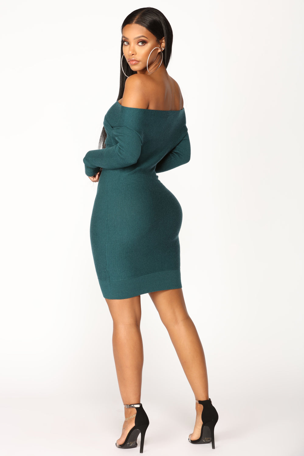 Off Shoulder Show Dress - Hunter Green
