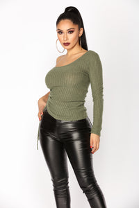 Janet One Shoulder Top - Olive
