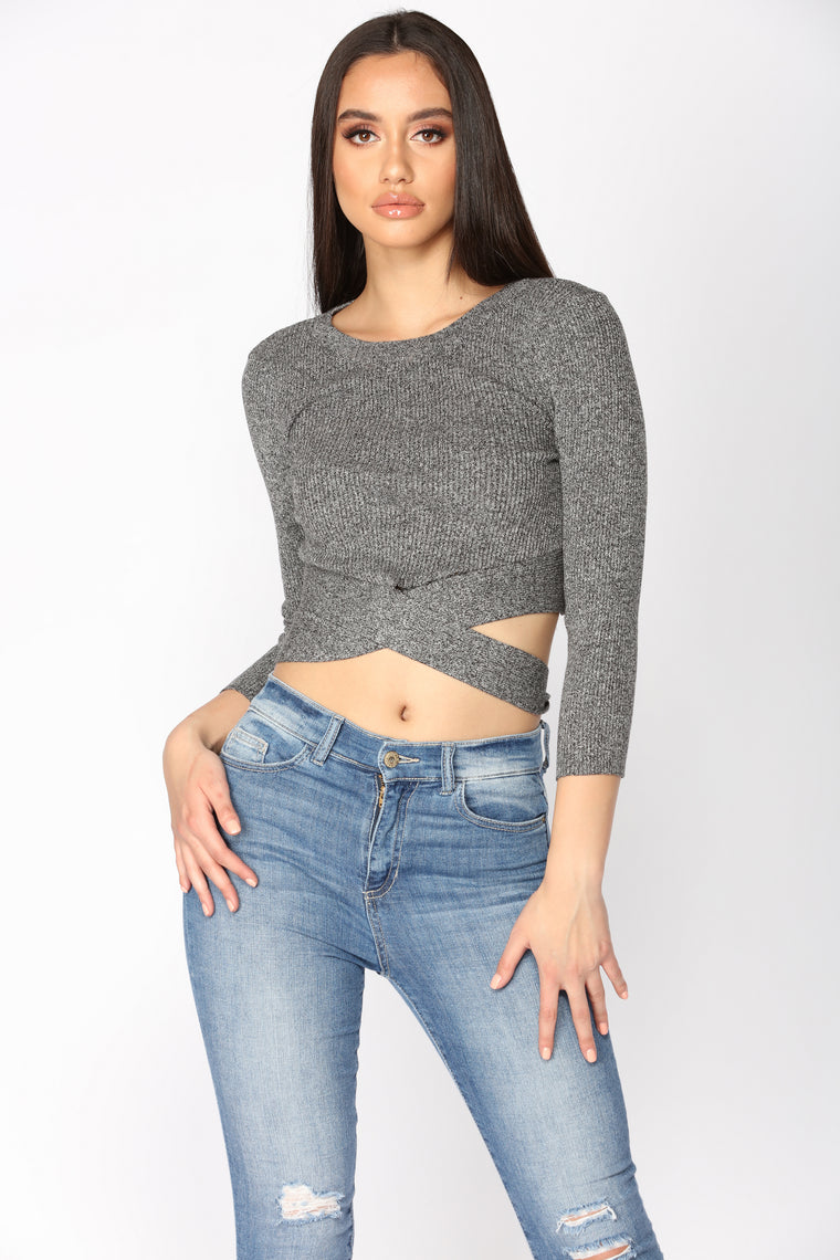 Adrian Wrap Around Crop Top - Charcoal