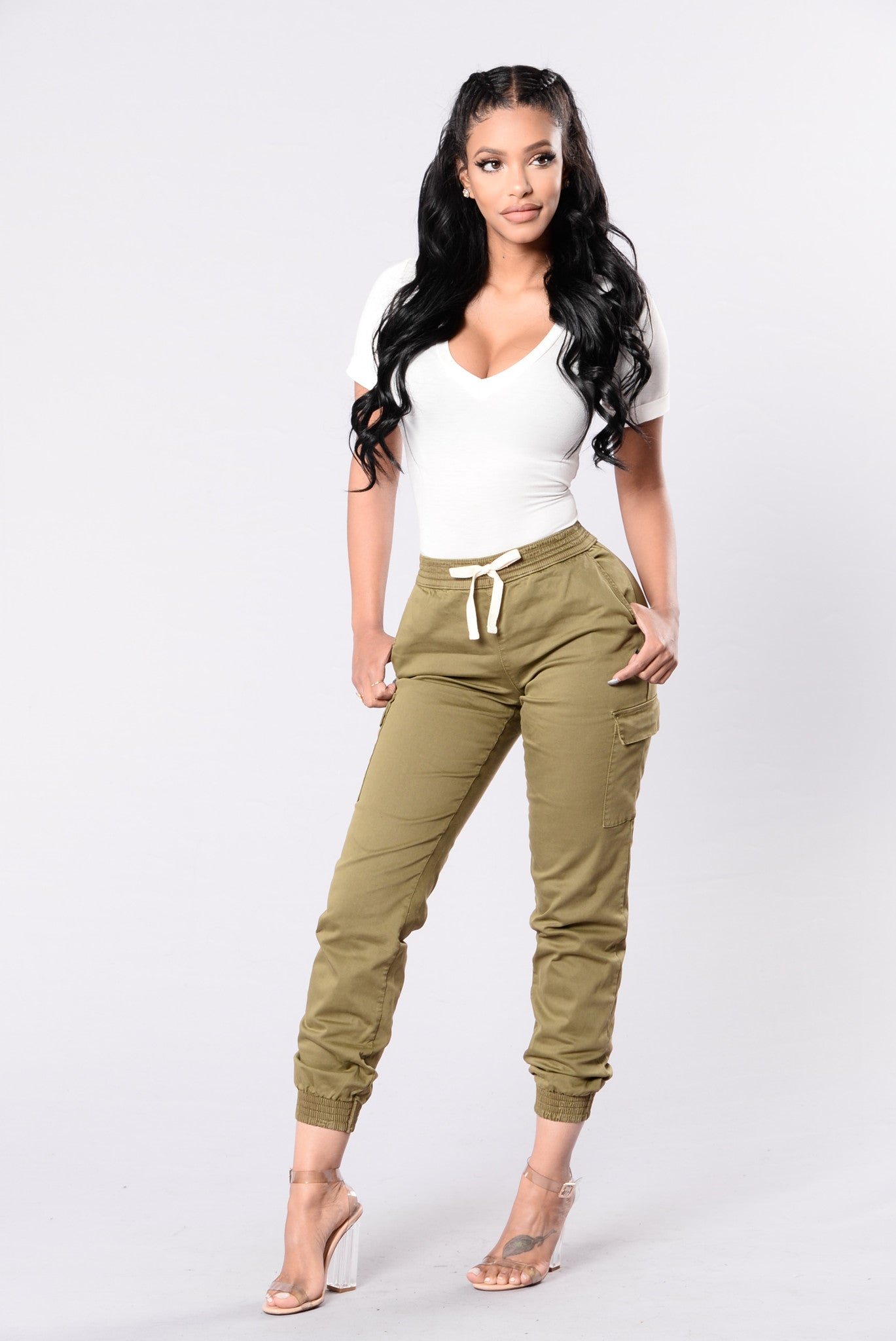 womens khaki cargo pants gotta keep going joggers olive 30508