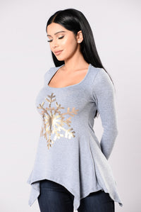 Snowflake Kiss Top - Dusty Blue