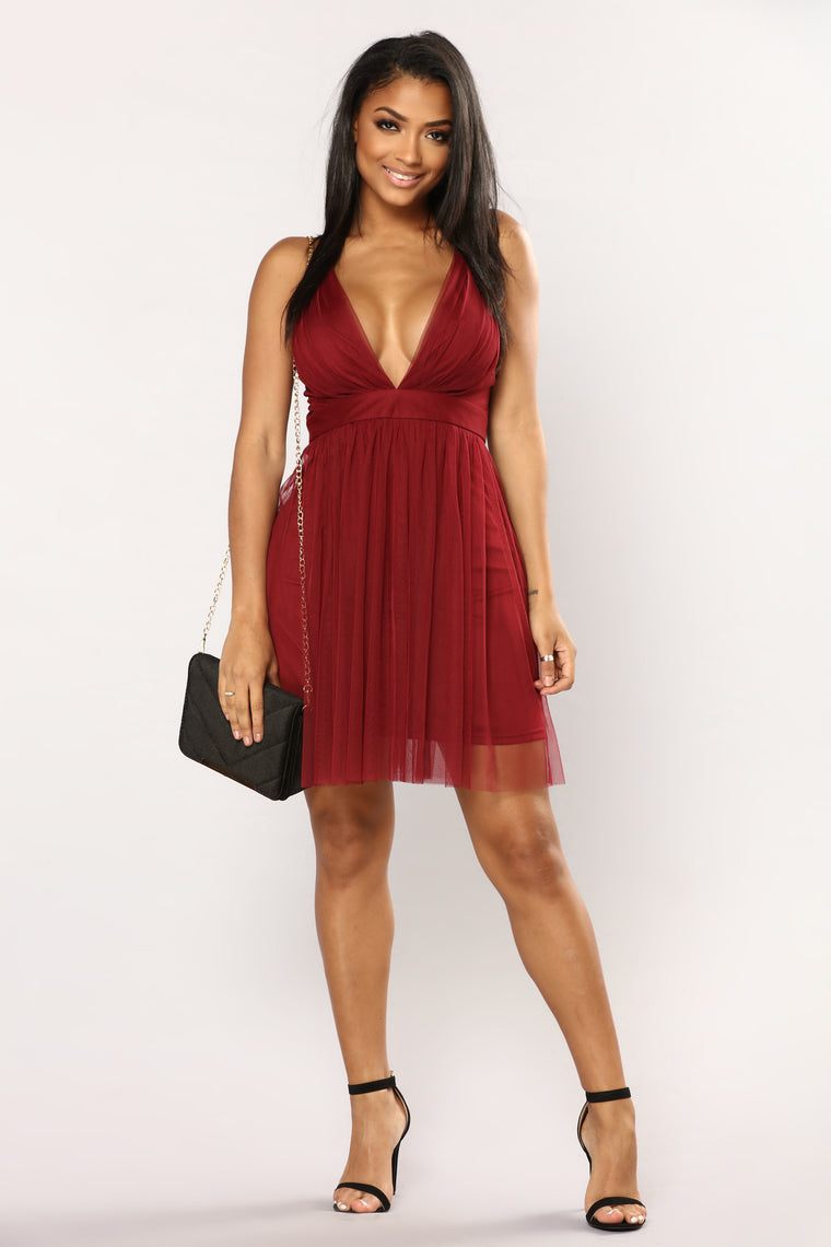 Marie Tulle Dress - Wine