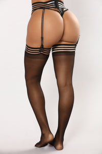 The Way She Moves Belted Suspender Thigh Highs - Black