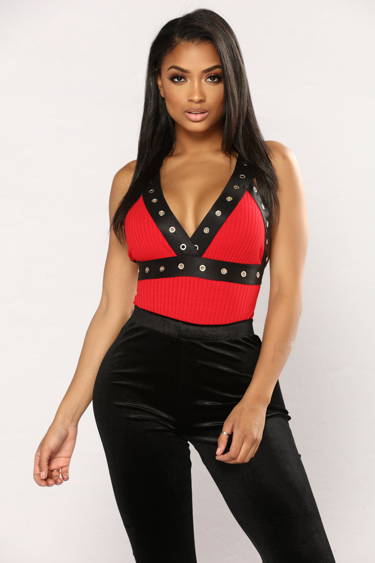Got Options Grommet Bodysuit - Red