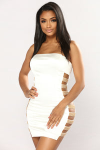 Aurora Satin Dress - White