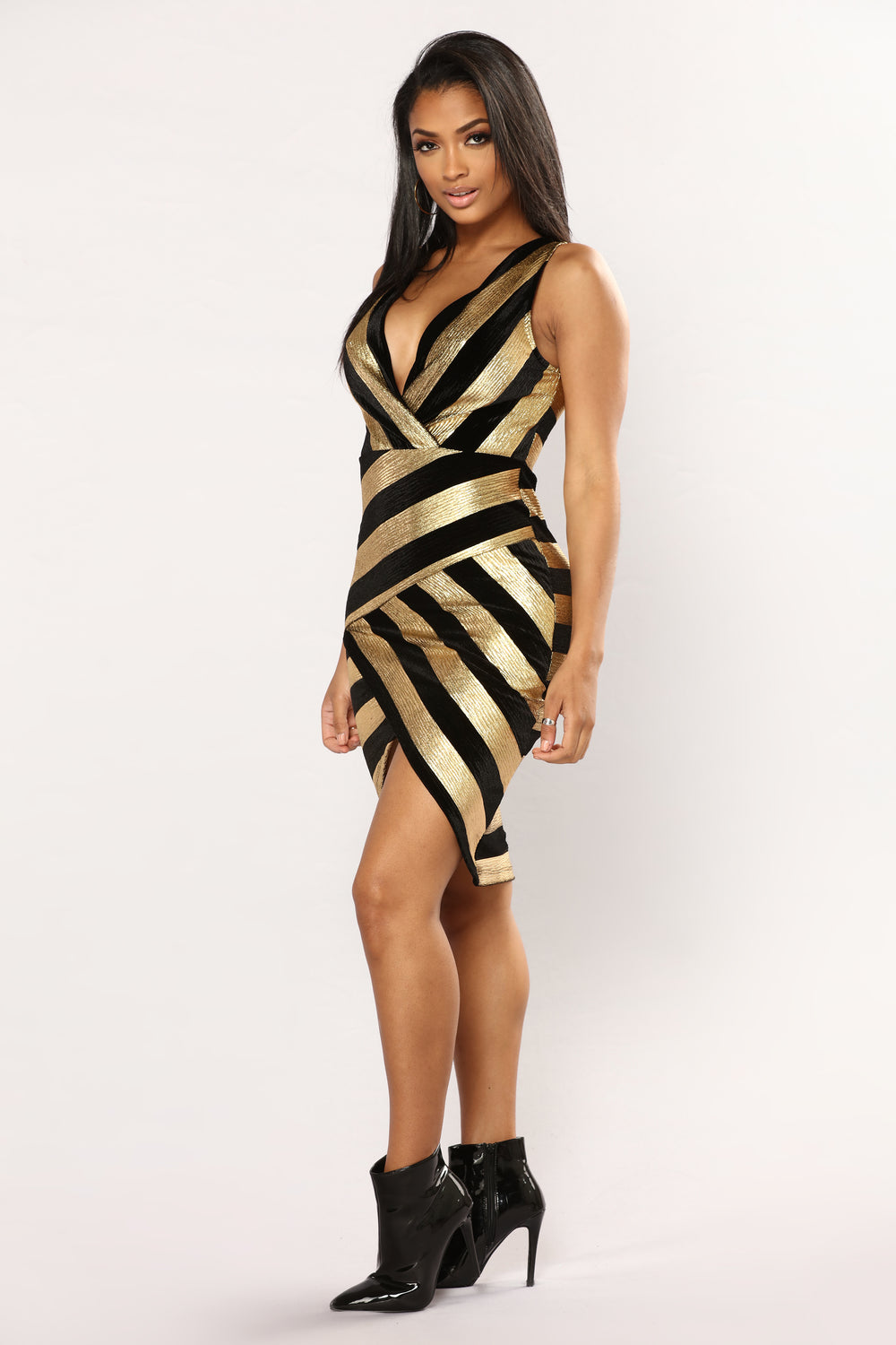 Egyptian Goddess Velvet Dress - Black/Gold