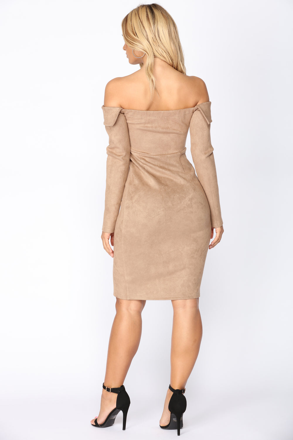Erin Off Shoulder Suede Dress - Mocha