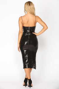 Fading Slit Sequin Dress - Black