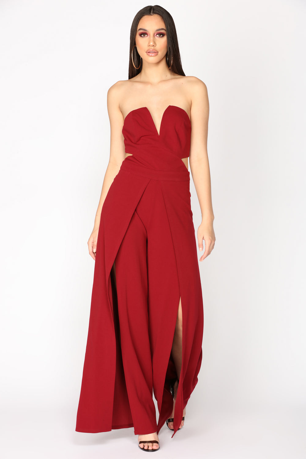 Feel It Coming Slit Jumpsuit - Wine