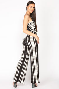 Pamella Plaid Jumpsuit - Black/White