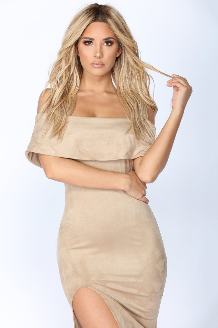 More Than Meets The Eye Suede Dress - Mocha