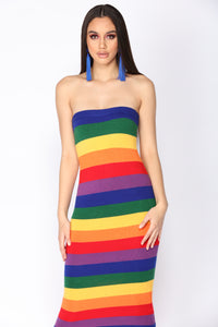 Feel The Rainbow Midi Dress - Rainbow