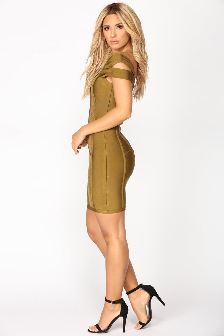 Banded Together Dress - Olive