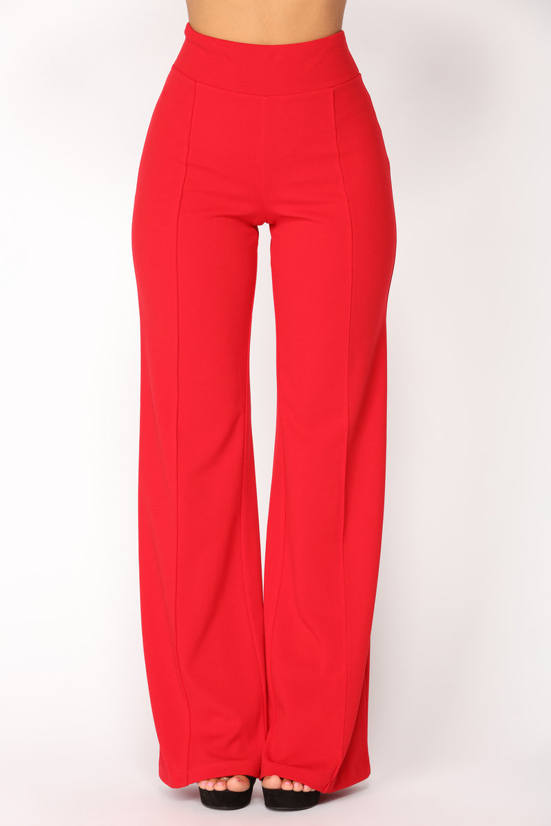 Clarissa High Rise Pants - Red