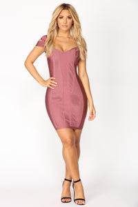 Banded Together Dress - Dark Mauve