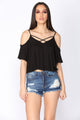 Over And Under Ribbed Top - Black