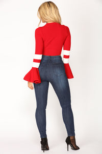 Mock To The Crop Top - Red Angle 4