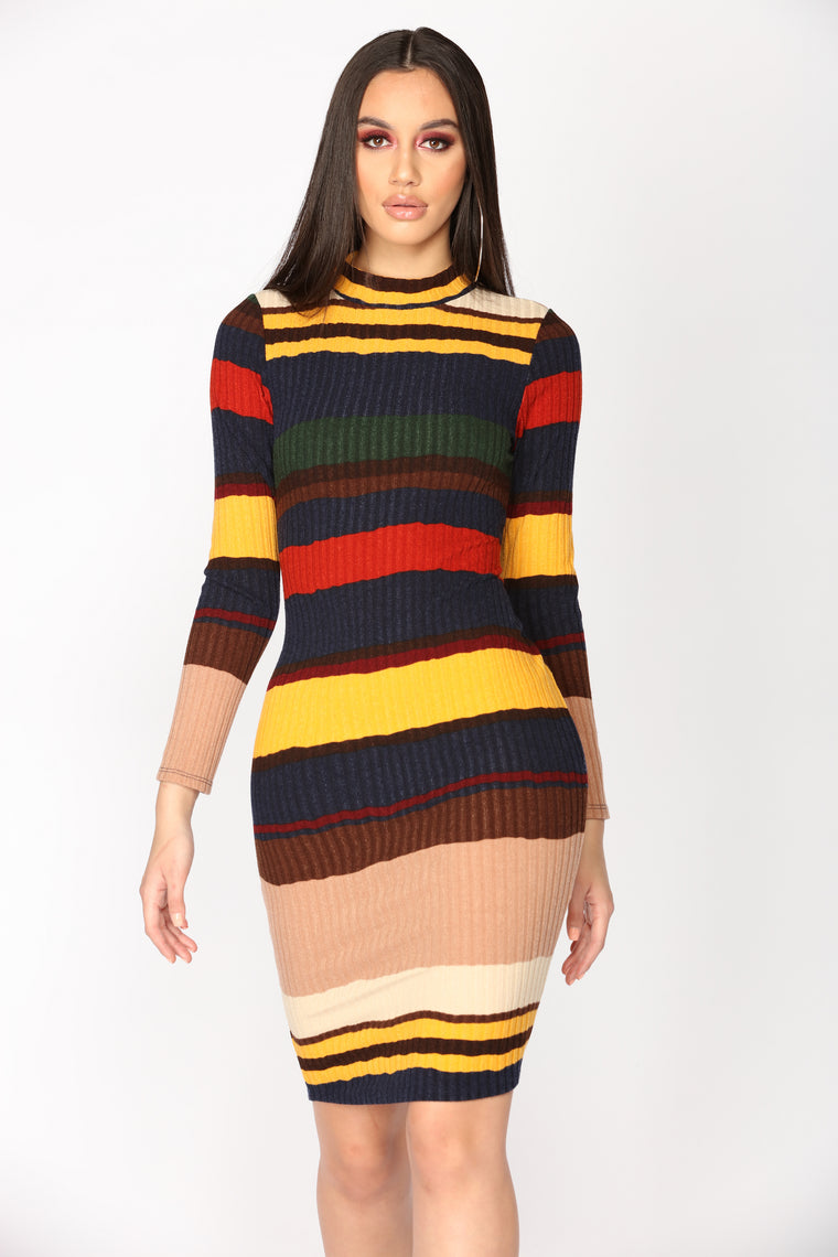 Homebound Striped Dress - Mustard/Navy