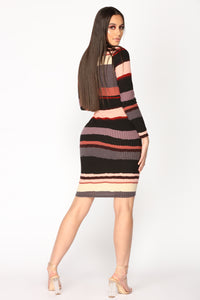 Homebound Striped Dress - Mauve/Grey