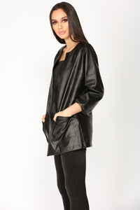 Caught You Looking Faux Leather Jacket - Black