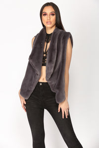 Furever And Ever Faux Fur Vest - Grey