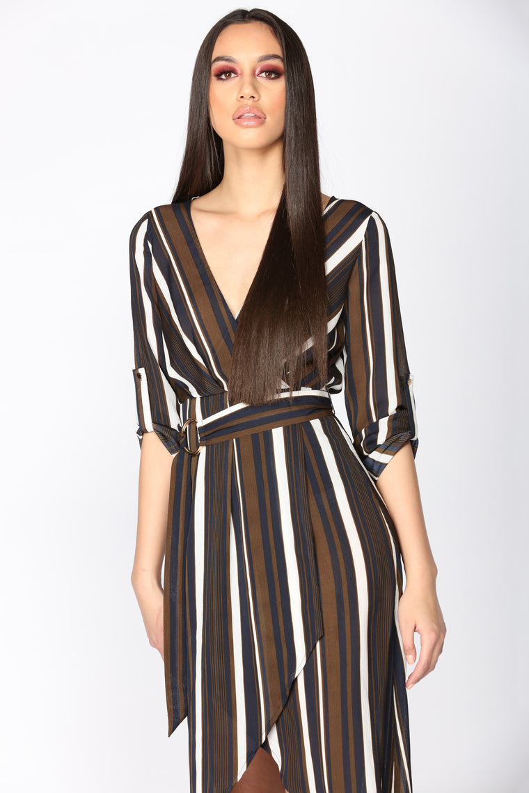 Toil And Trouble Striped Dress - Olive