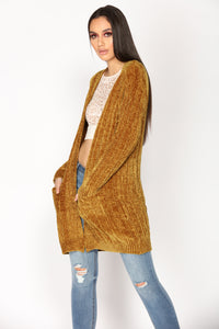 No More Rainy Days Cardigan Sweater - Mustard