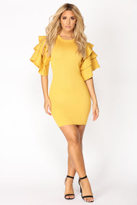Madden Knit Dress - Mustard