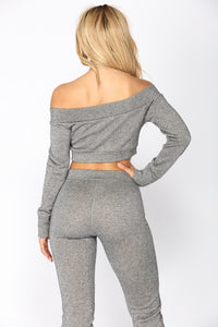 Takin' Back My Love Pant Set - Charcoal