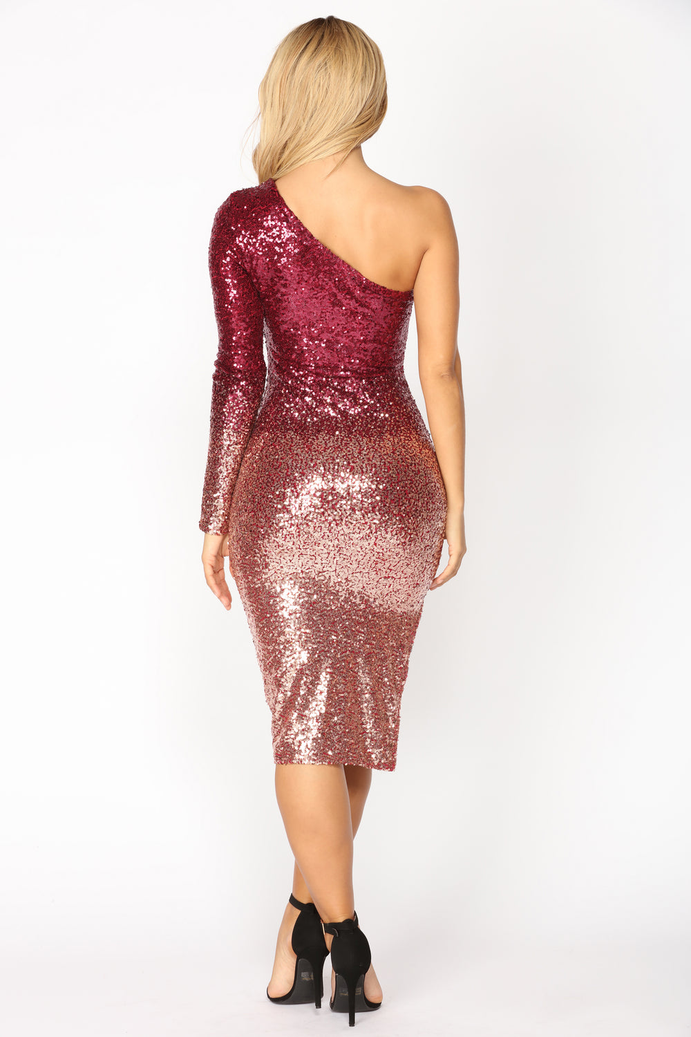 excess sequin dress  burgundyrose gold