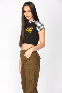 Girl Gang On Fire Top - Black
