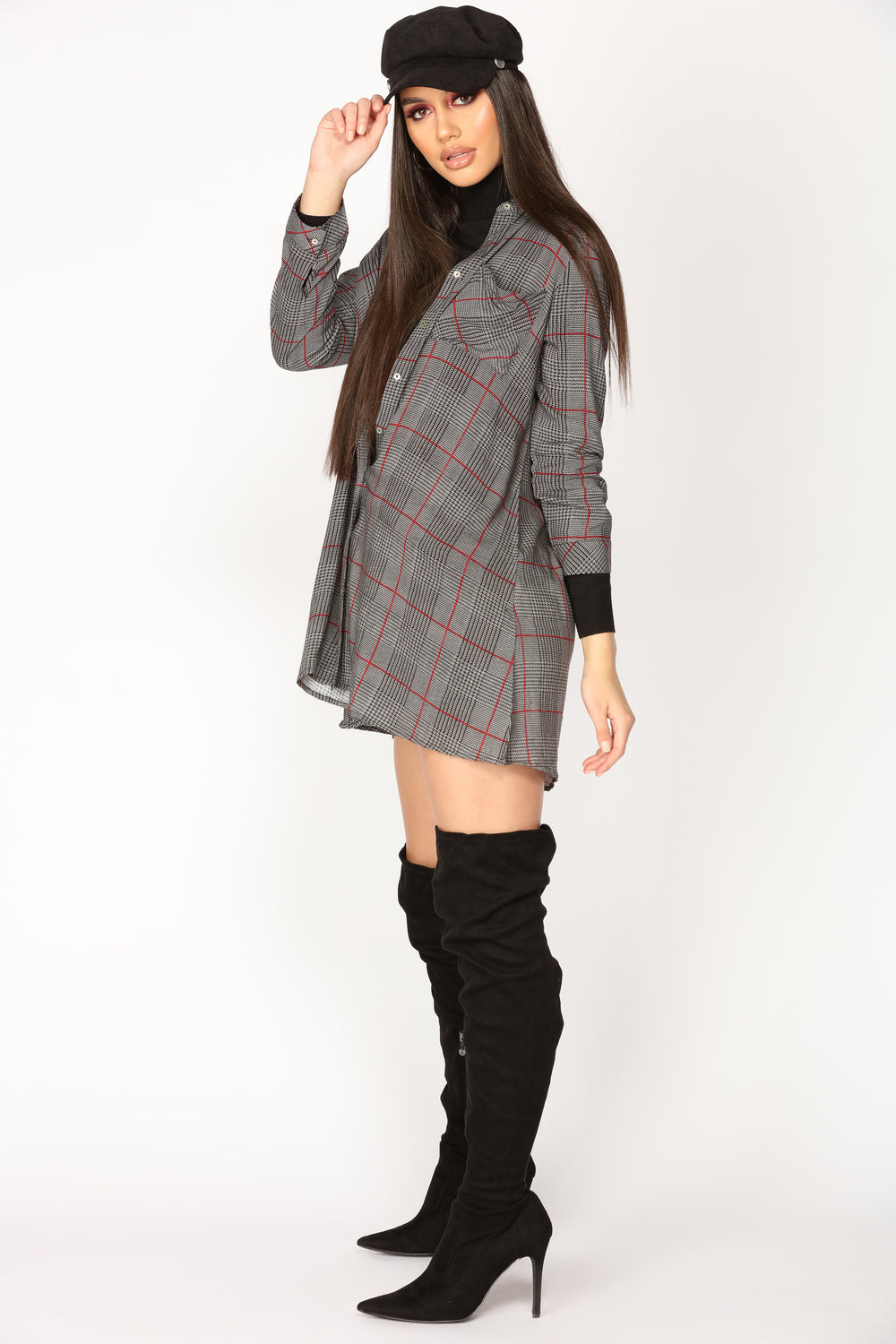 Shayna Plaid Tunic - Black/White