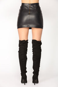 So Alive Faux Leather Skirt - Black