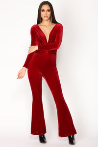 Jump In The Cadillac Velvet Jumpsuit - Burgundy
