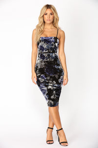 Night Garden Velvet Dress - Navy Floral