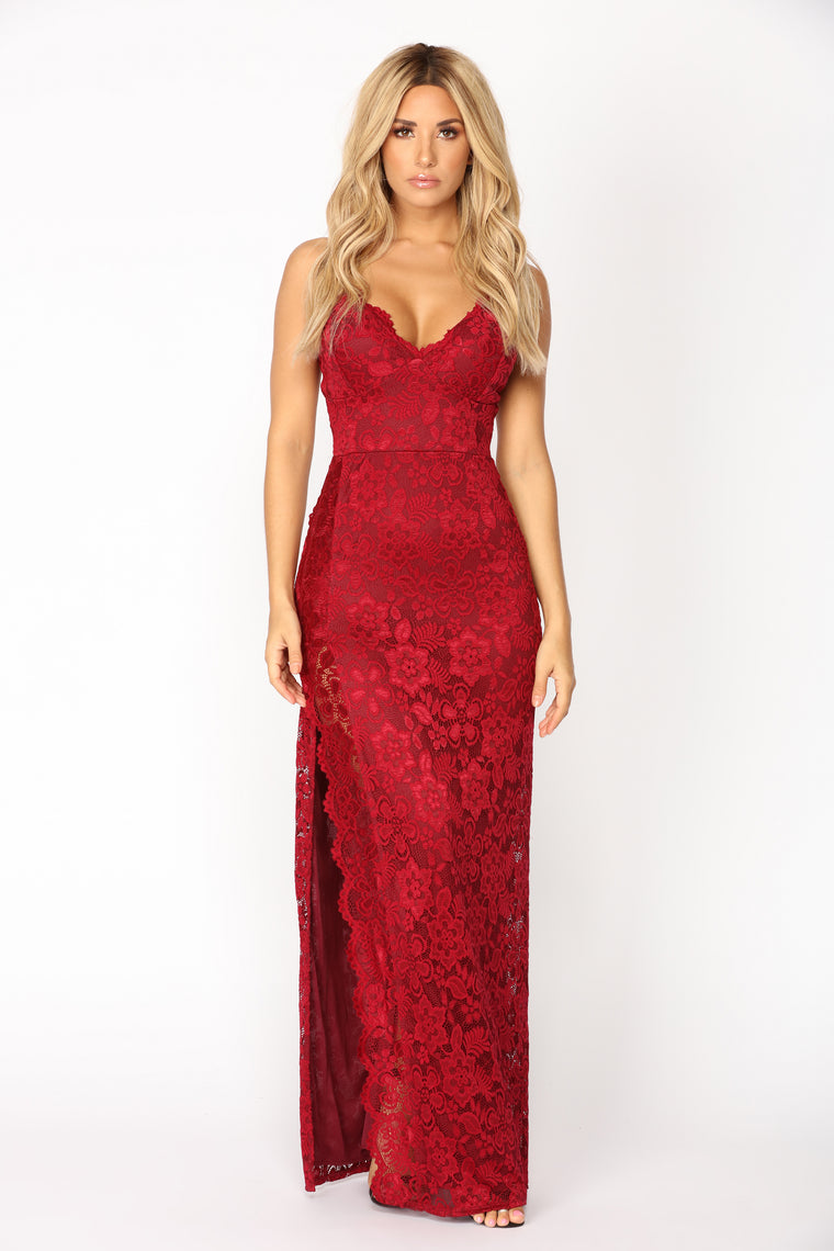 Jacelynn Lace Dress - Burgundy