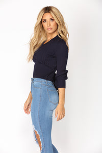 You're So Tantalizing Wrap Sweater - Navy