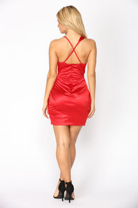 Got Me Twisted Satin Dress - Red