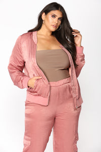 Pretty Fly Bomber Jacket - Mauve