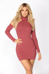Tania Ribbed Dress - Red Brown