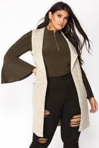 Finally Fall Draped Jacket - Taupe