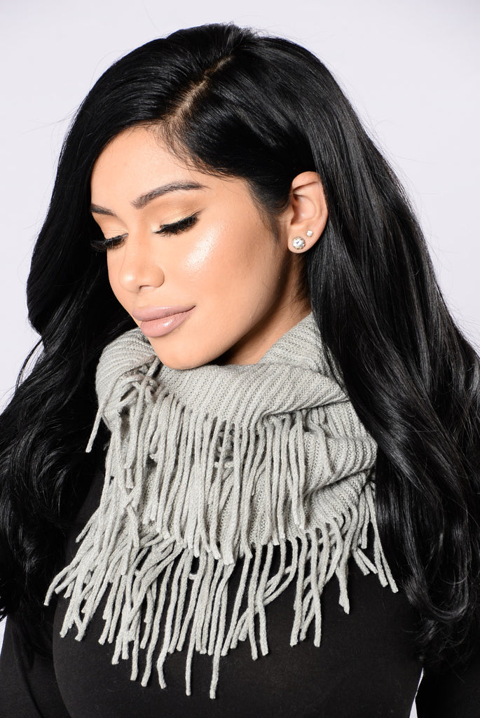 Wrapped All Up Infinity Scarf - Grey