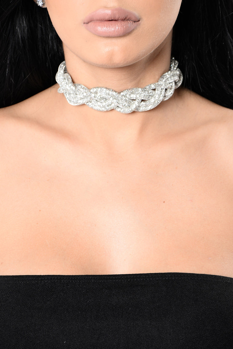 Bling Braid Choker - Silver